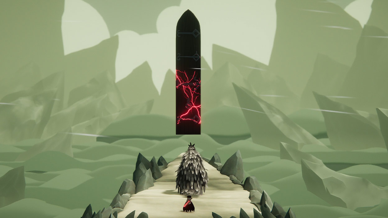 Character following a large feathered character towards a large black door floating with red electric lights in a desolate, rocky area