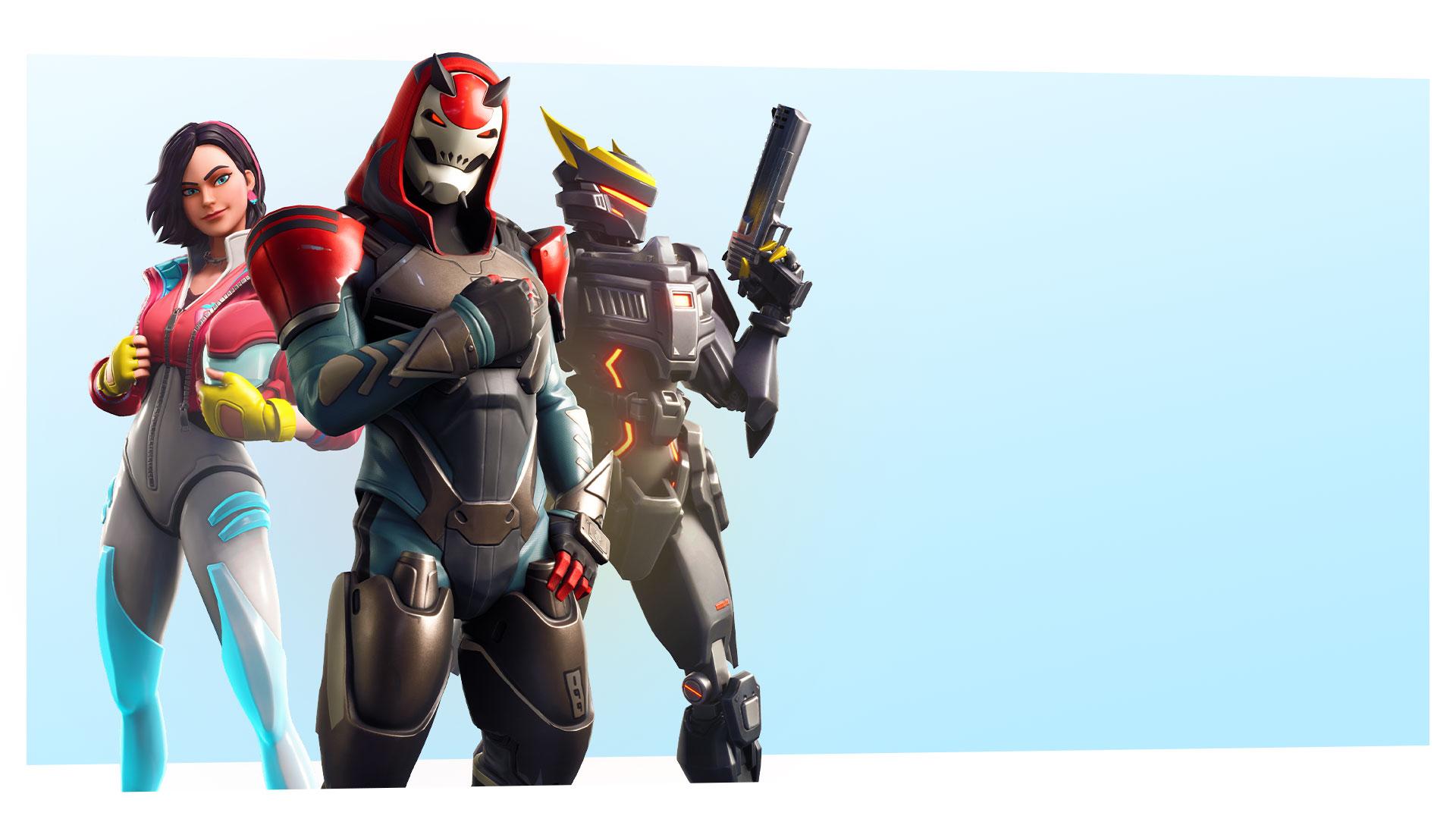 Fortnite Saison 9 Charaktere, die in Formation posieren
