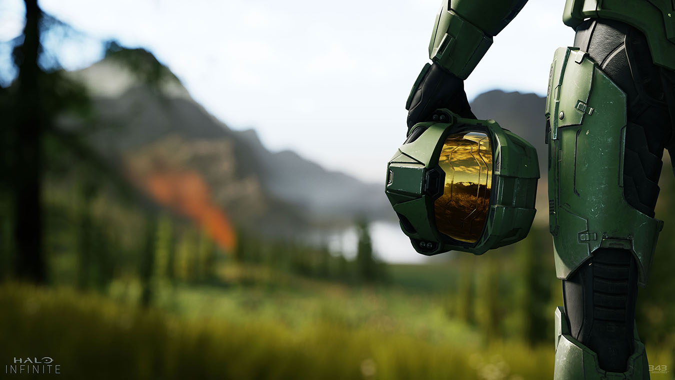 Master Chief's helmet and leg with a scenic backdrop