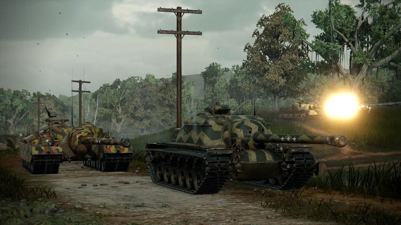 American tank destroyers drive down dirt road