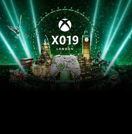 The X019 logo showing the X019 Xbox One controller amid several London landmarks