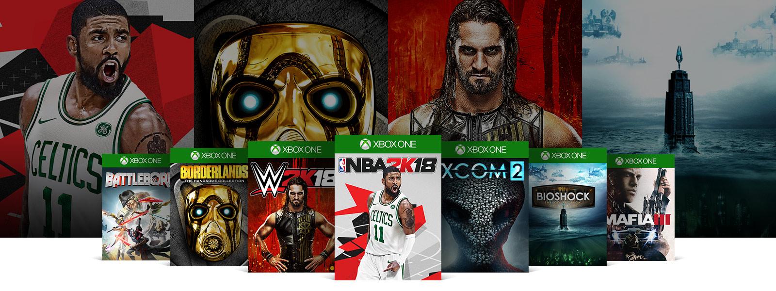 Xbox game boxshots of Battleborn Borderlands W2K18 NBA 2K18 XCOM 2 Bioshock Mafia 3