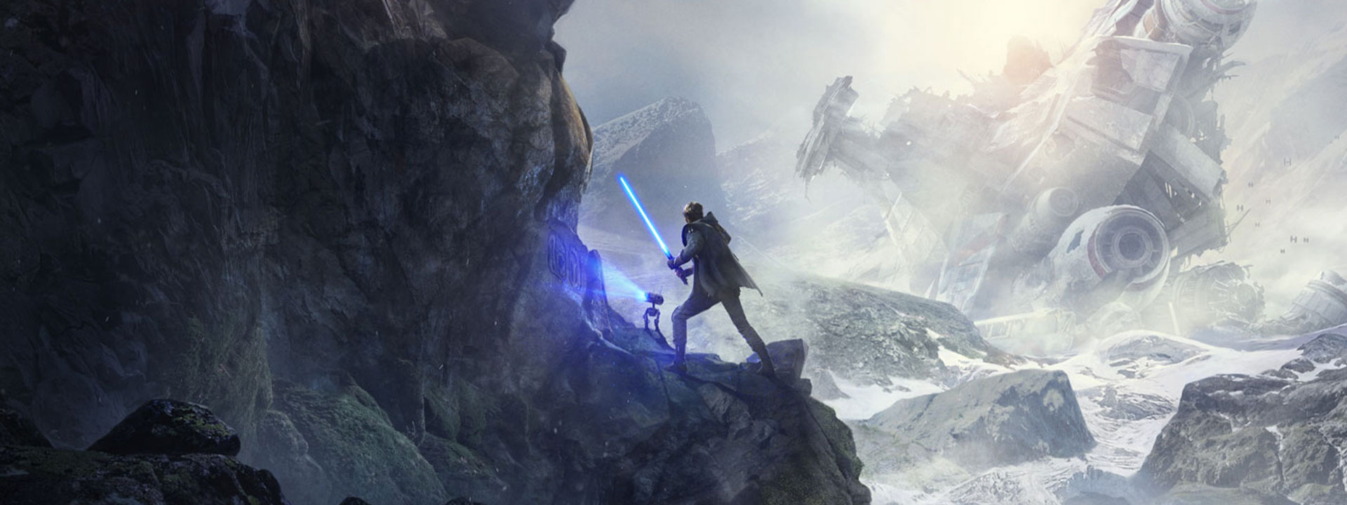 A man holds a lightsaber on a cliff as a bot scans symbols on the cliffside