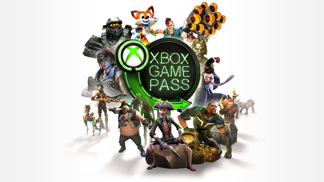 Game Pass character montage in front of a neon Game Pass sign