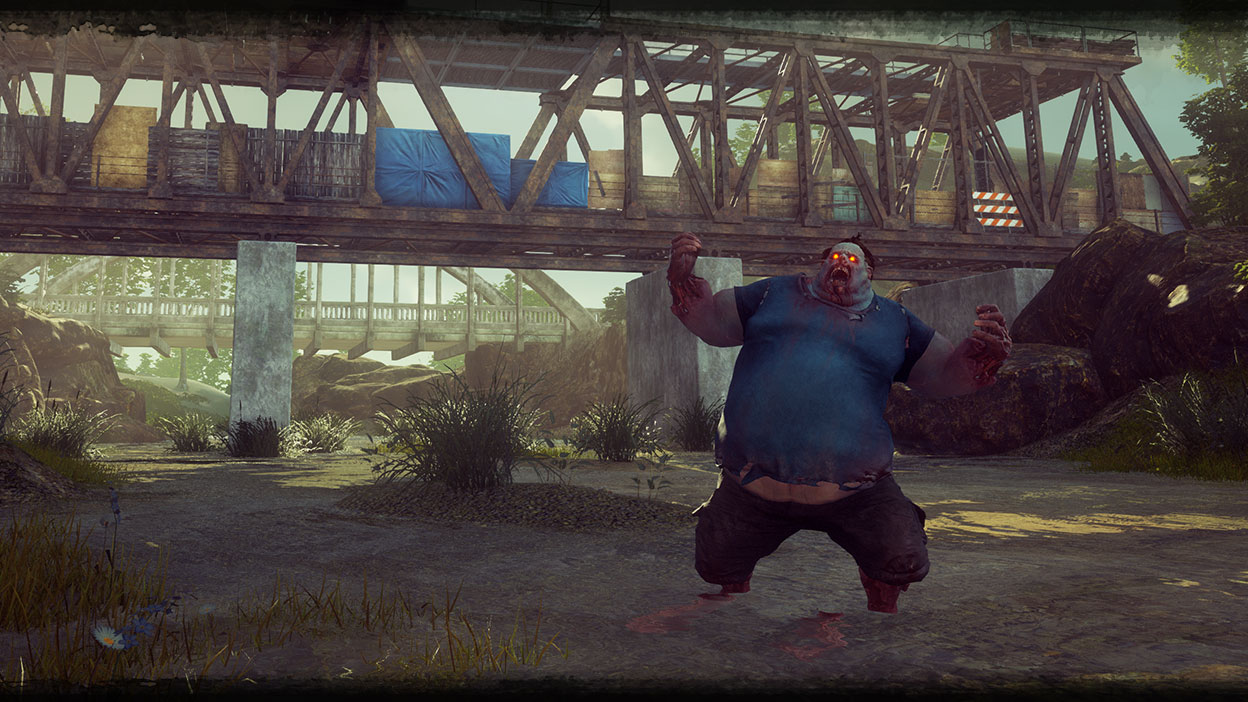 Juggernaut from State of Decay 2: Juggernaut Edition yelling in front of a bridge