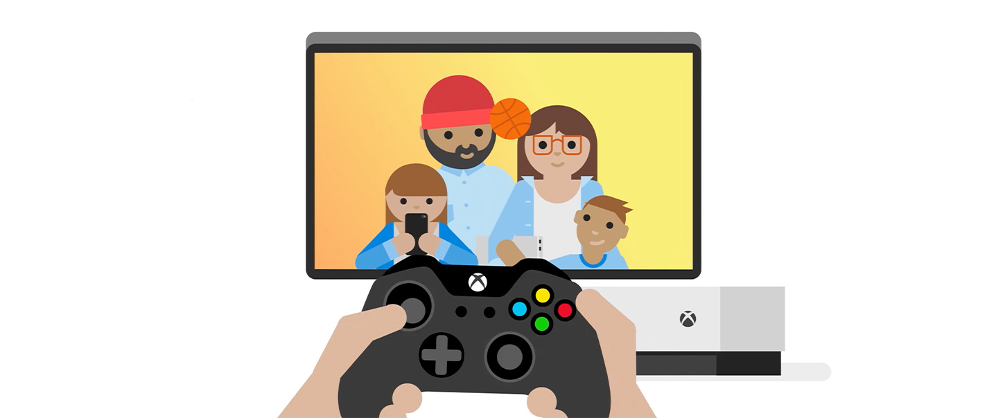 Illustration showing hands holding an Xbox controller in front of an Xbox console and a TV showing a family of four