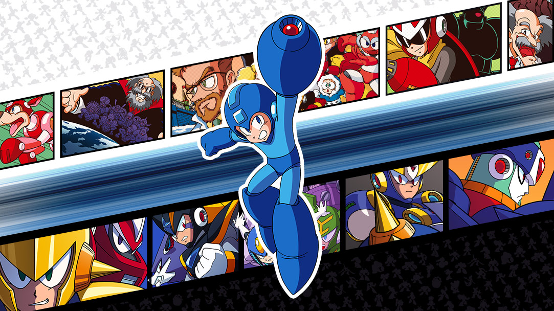 Mega Man holds up his buster gun on top of a background collage of multiple mega man characters in a film strip