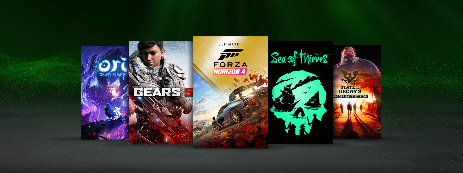 A collection of games that are part of the Xbox Studios Hall of Fame Sale, including Ori and the Will of the Wisps, Gears 5, and State of Decay 2 Juggernaut Edition.