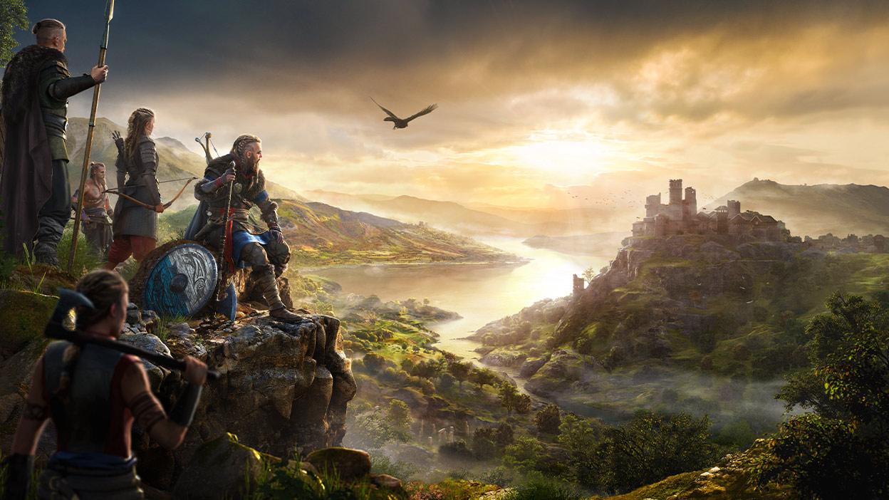Five characters from Assassin's Creed Valhalla looking over a valley
