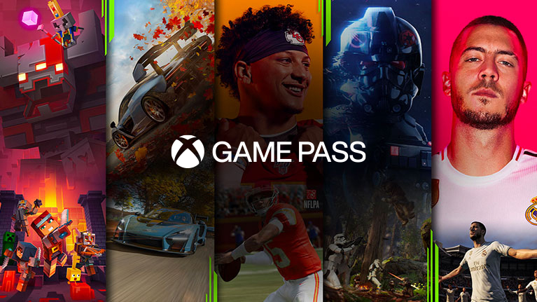 A montage of games available on Xbox Game Pass, including Minecraft Dungeons, Forza Horizon 4, Madden NFL 20, Star Wars Battlefront 2, and FIFA 20.