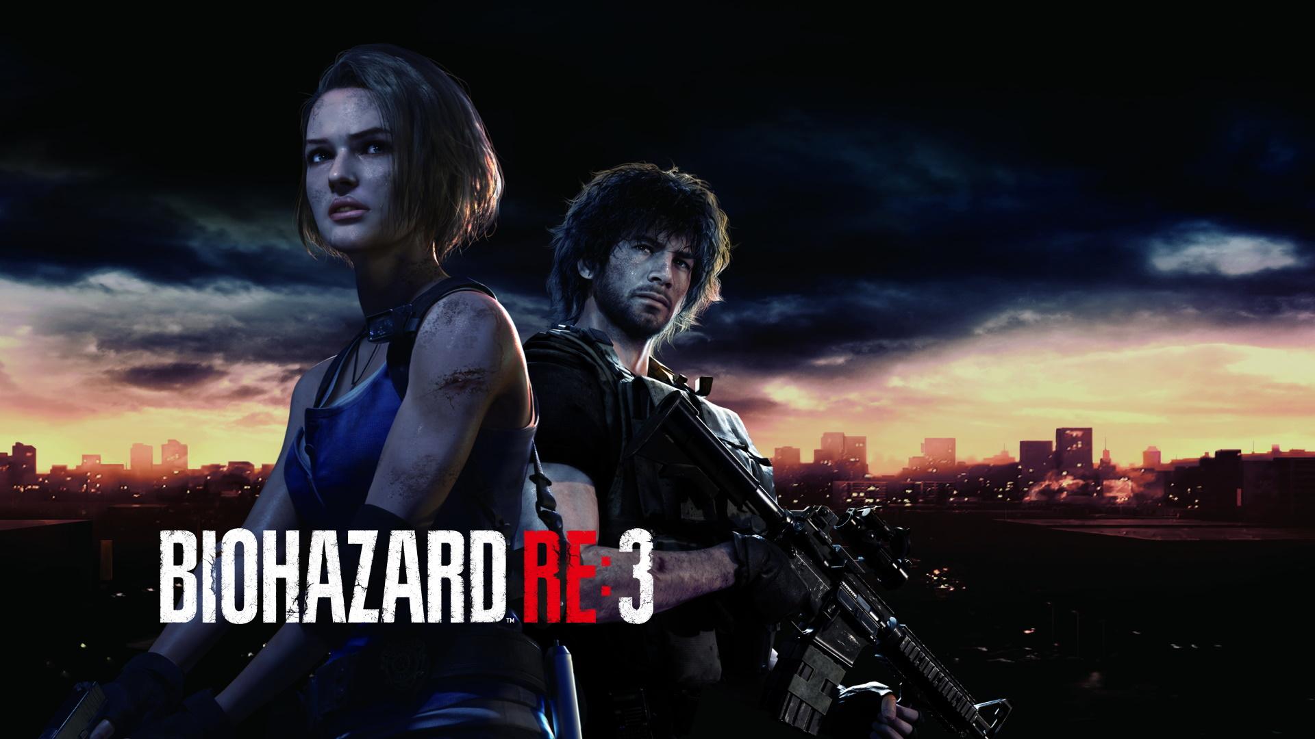 『バイオハザード RE:3』、ラクーン シティのスカイラインの前に立つ、ジル・バレンタインとカルロス