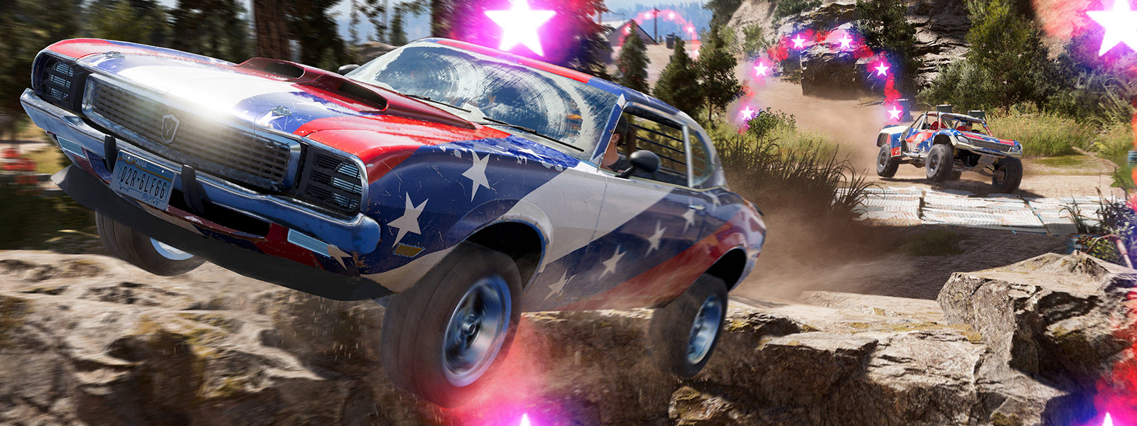 A classic muscle car with stars and stripes paintjob rides off a cliff