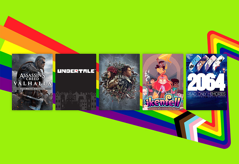 Games curated by LGBTQIA+ communities at Microsoft, including Assassin's Creed Valhalla Ultimate Edition and Tell Me Why.
