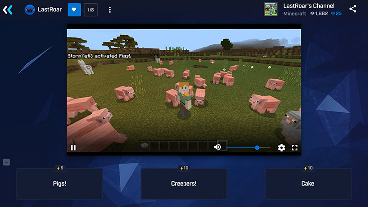 Minecraft being streamed on Mixer with sheep and pigs