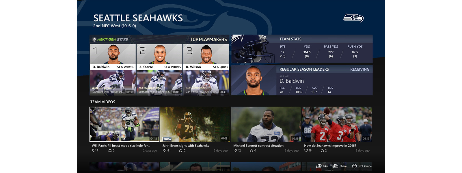 NFL Highlights on the NFL app on Xbox One