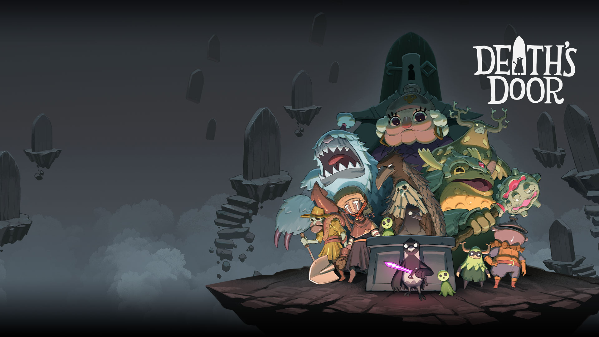 Death's Door, characters from Death's Door posing on a platform with floating tombstones around them