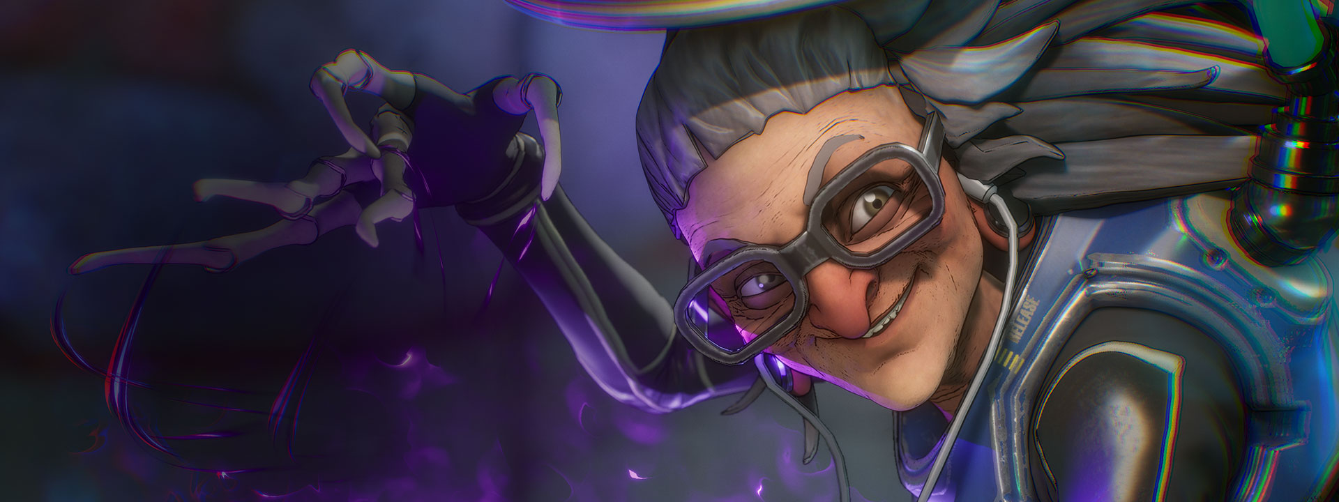 Character Maeve with gray hair, glasses, and earphone with purple sparks coming out of her hand