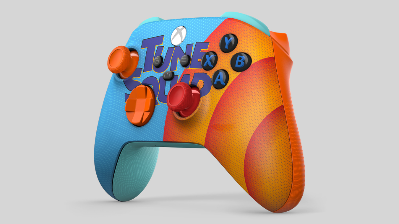 Blue and orange Space Jam A New Legacy Tune Squad Exclusive Edition Xbox Wireless Controller, with cartoon members of the Tune Squad