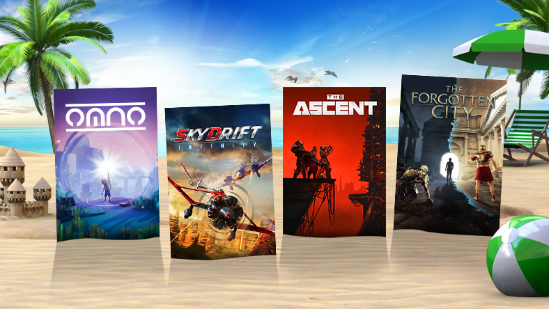 Box art from games that are part of Summer Spotlight, including Skydrift Infinity, The Ascent, and The Forgotten City.