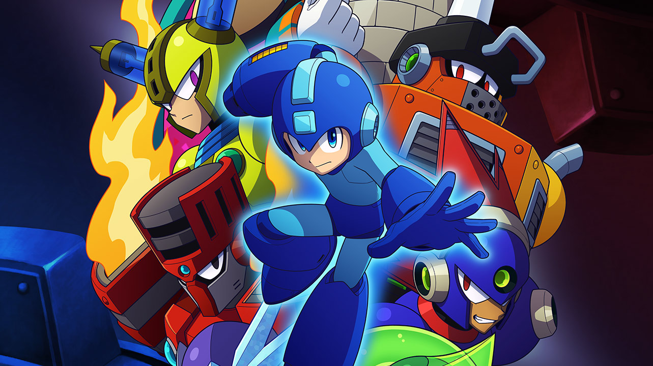 Mega man readies his buster in front of a collage of robot masters