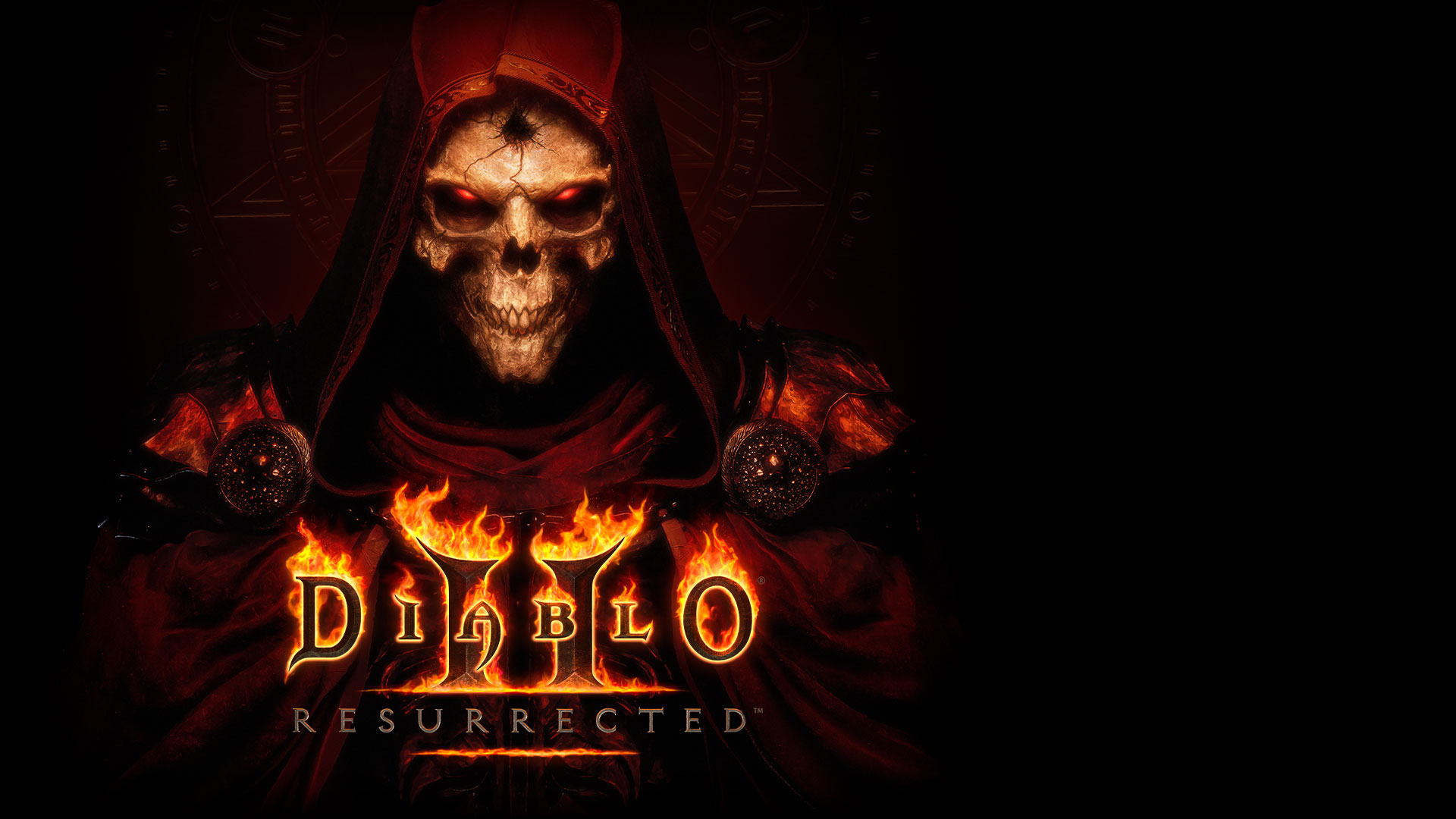 The Diablo 2: Resurrected logo over a skeleton with glowing red eyes and a dark red cape.