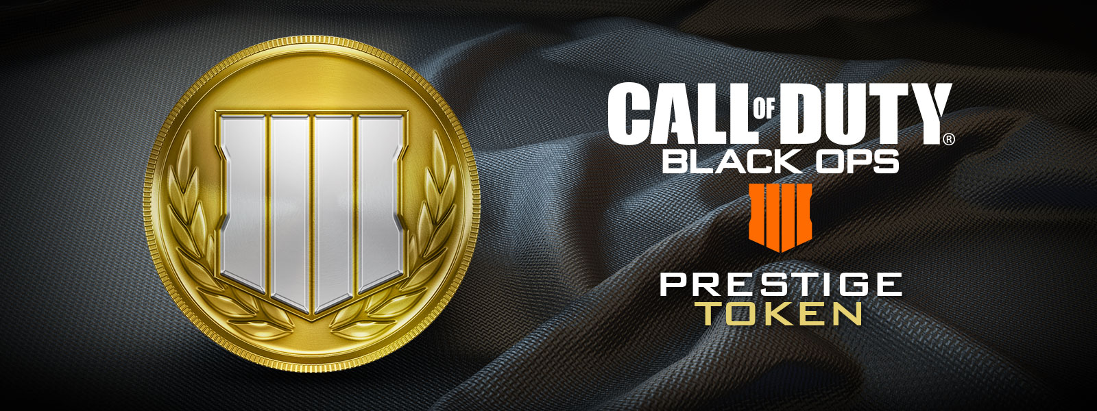 Call of Duty: Black Ops 4 prestige token logo, gold token with laurels and Black Ops 4 logo, carbon fibre fabric background