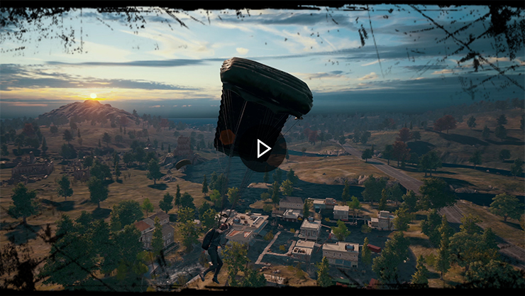Player parachuting into game