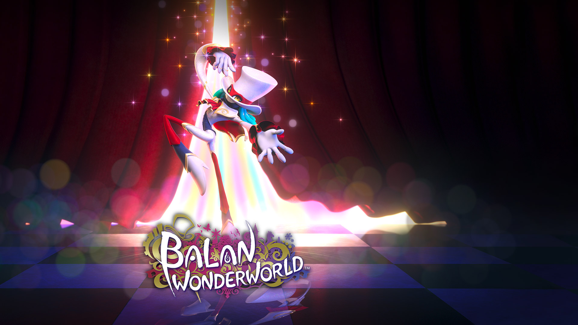 Balan Wonderworld, A well-dressed demon flourishes on a stage in front of red velvet curtains.
