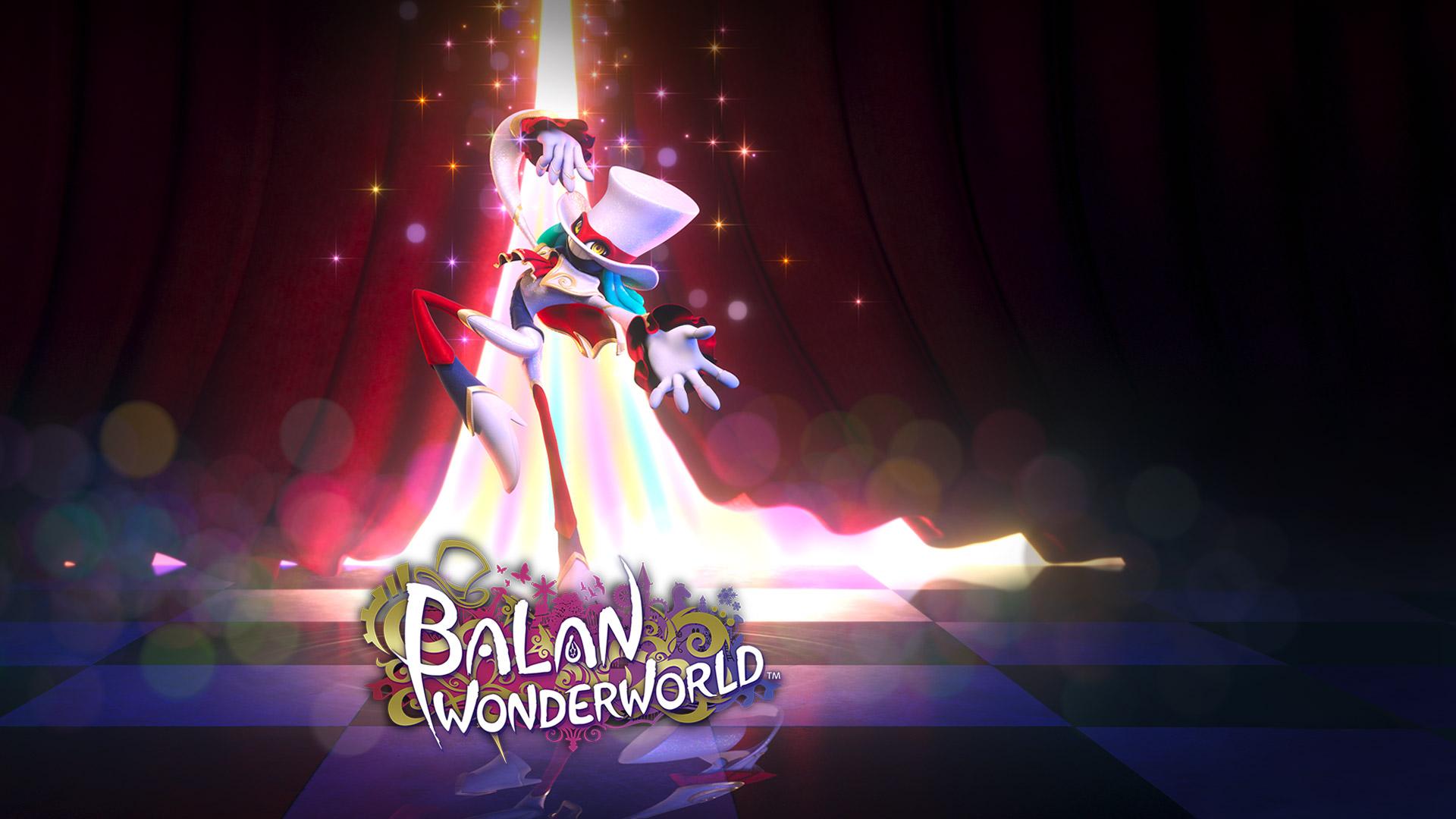BalanWonderworld, un démon élégant se met en scène devant des rideaux de velours rouge.