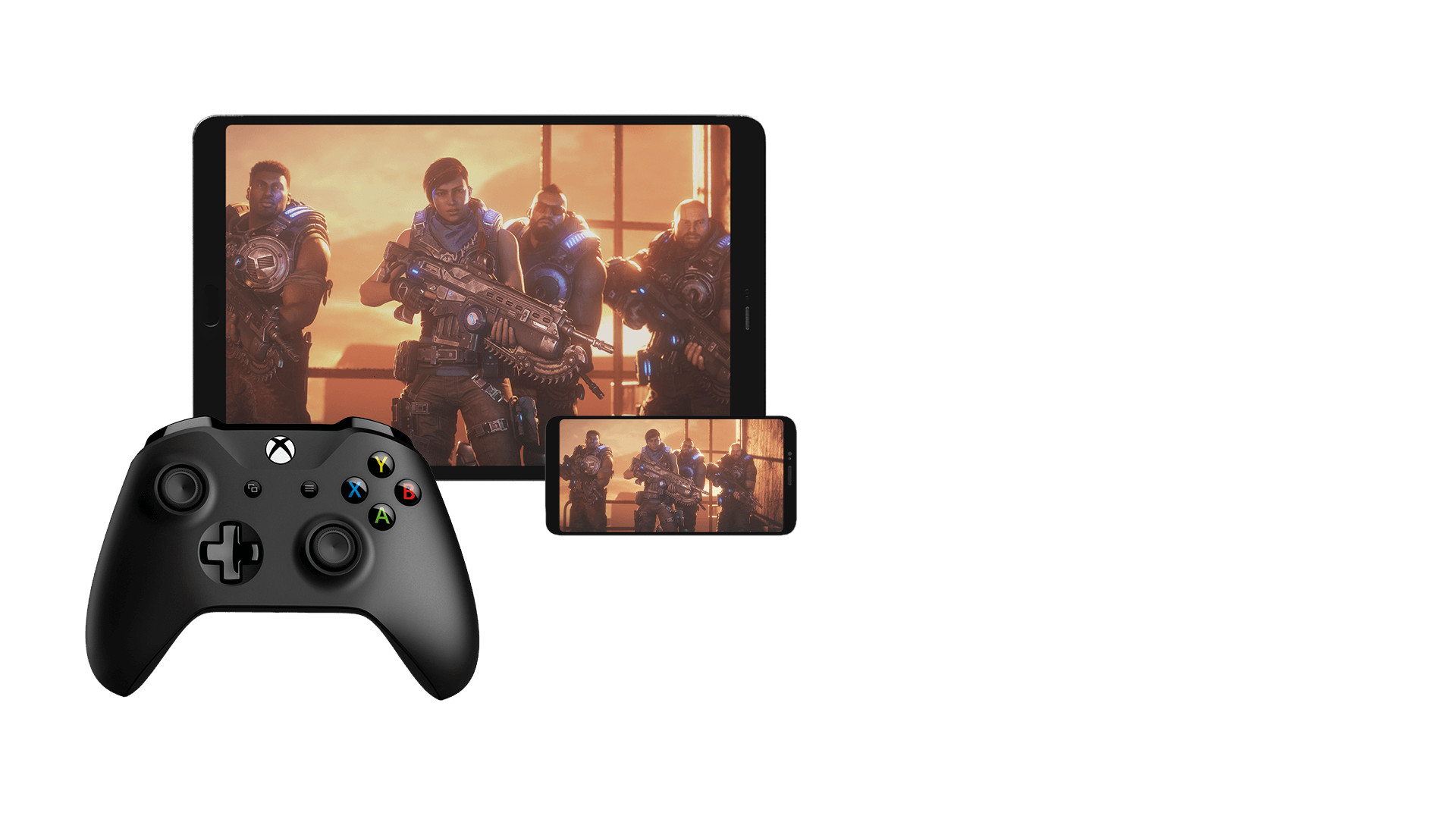 A tablet and smartphone displaying Gears 5 with an Xbox controller in the foreground