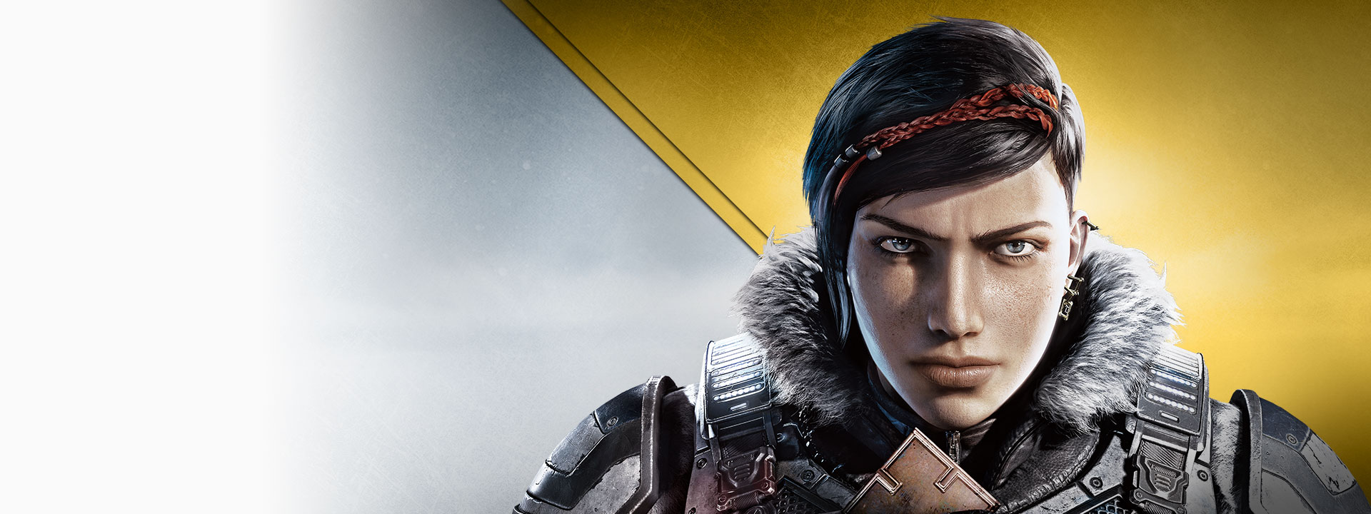 Gears 5, silver and gold background with Kait Diaz staring intensely at the camera