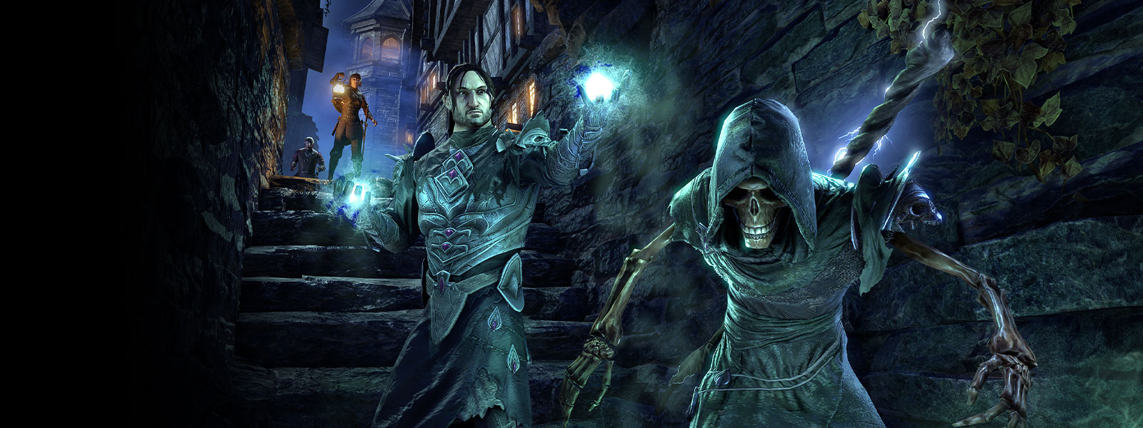 Skeleton glowing blue with hood with a man in armor and glowing blue orbs in his hands in an alley