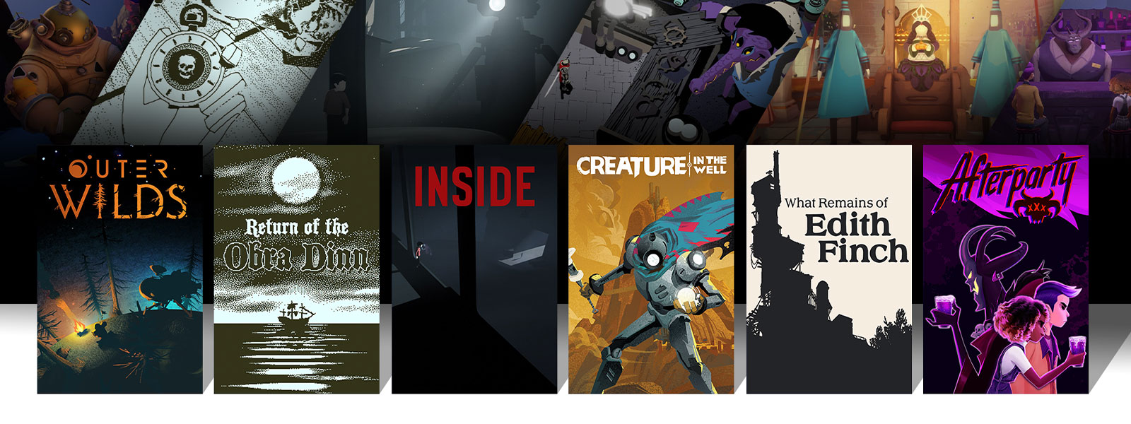 A collage of characters and scenes from Xbox One games on sale. Outer Wilds, Return of the Obra Dinn, Inside, Creature in the Well, What Remains of Edith Finch, and Afterparty.