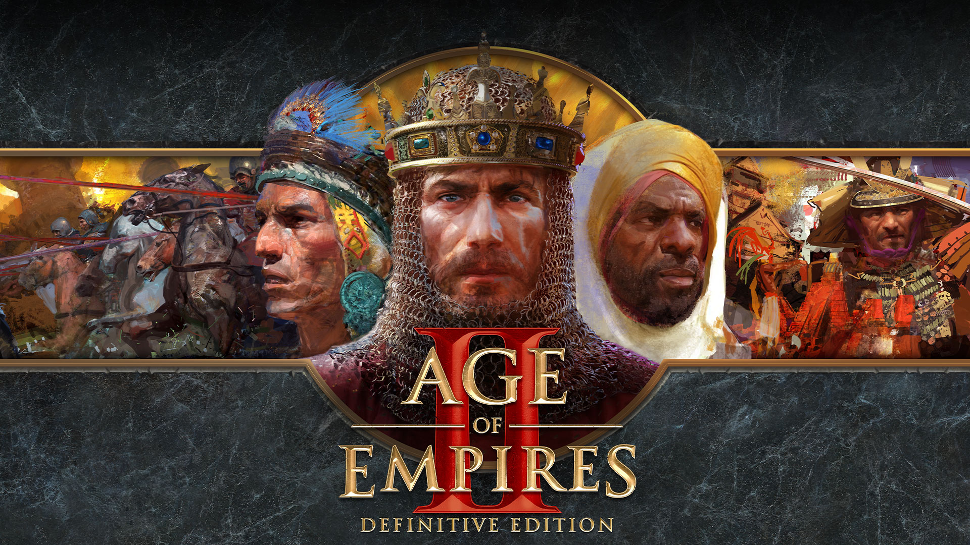 Logo di Age of Empires II Definitive Edition con rappresentazioni artistiche di fazioni in guerra