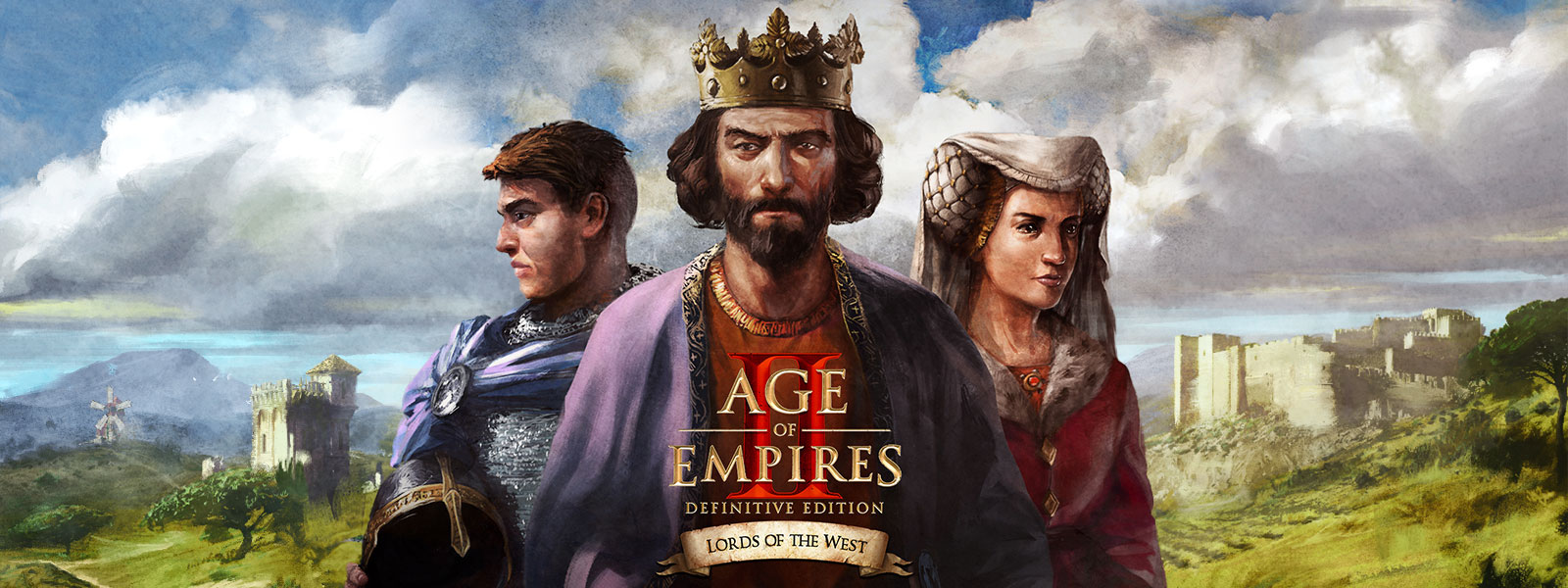 Age of Empires II: Definitive Edition. Lords of the West. Three characters posing.