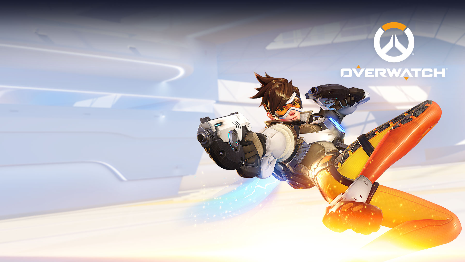 Overwatch hero Tracer jumping backwards with her pistols out.