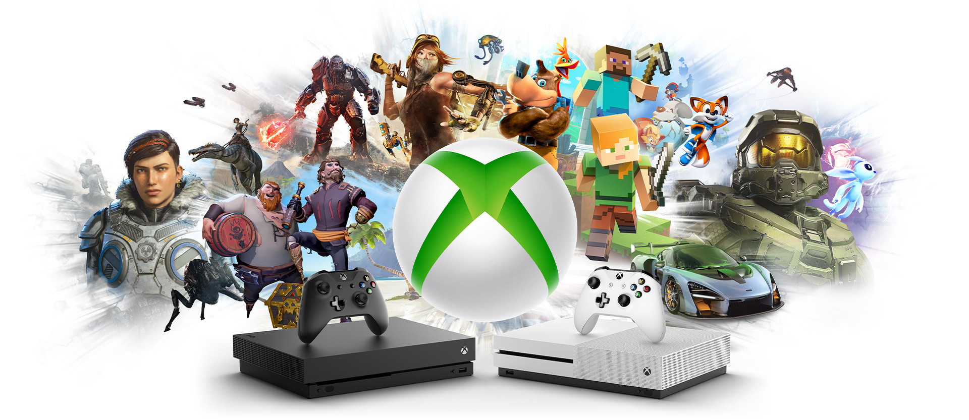 Xbox One X and Xbox One S in front of a collage of Xbox game characters