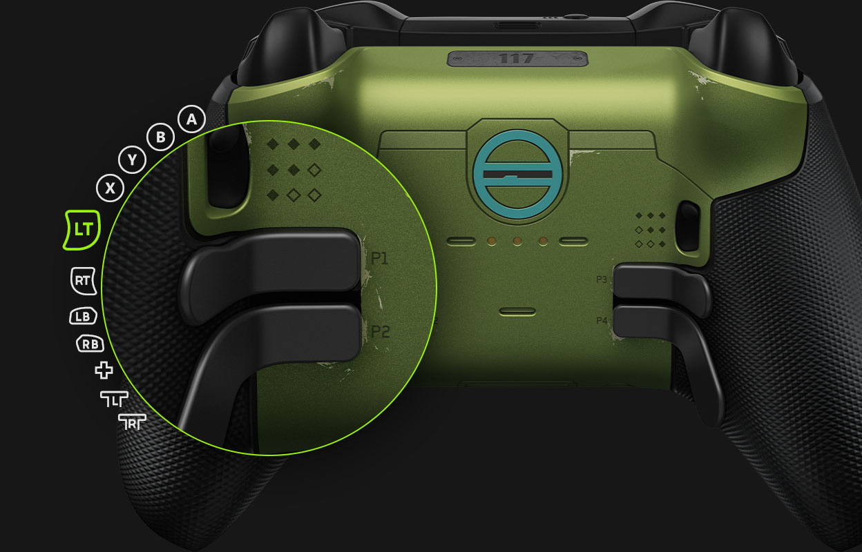The back of the Elite series 2 Halo Infinite controller highlighting the button mapping customisation of the paddles