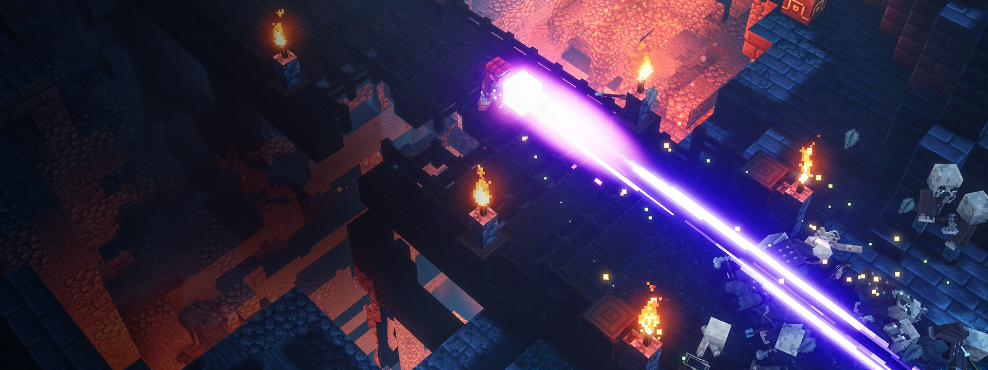 Main character destroying enemies by shooting a plasma ray out of a box