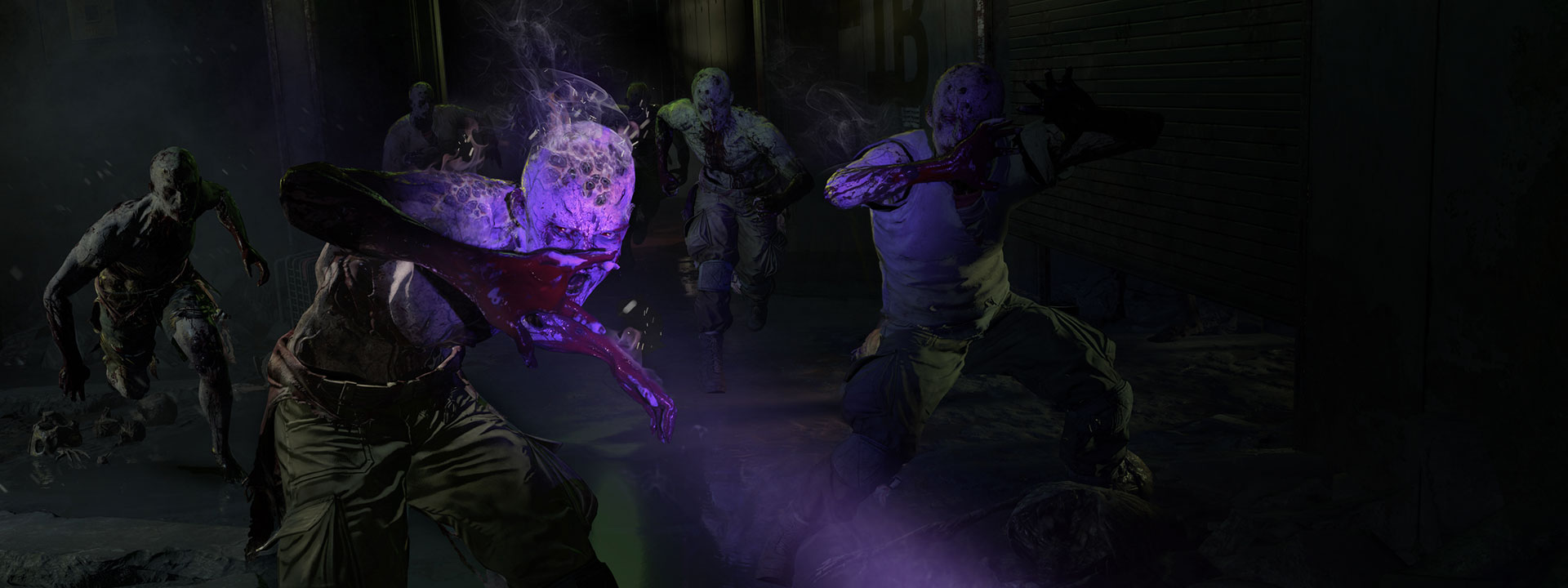 Horde of infected in purple light coming toward player