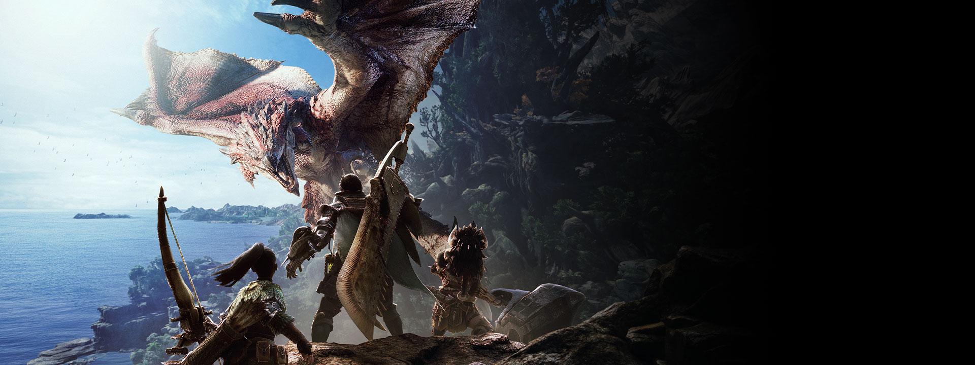 Monster Hunter World, personaggi di fronte a una bestia volante pronti al combattimento
