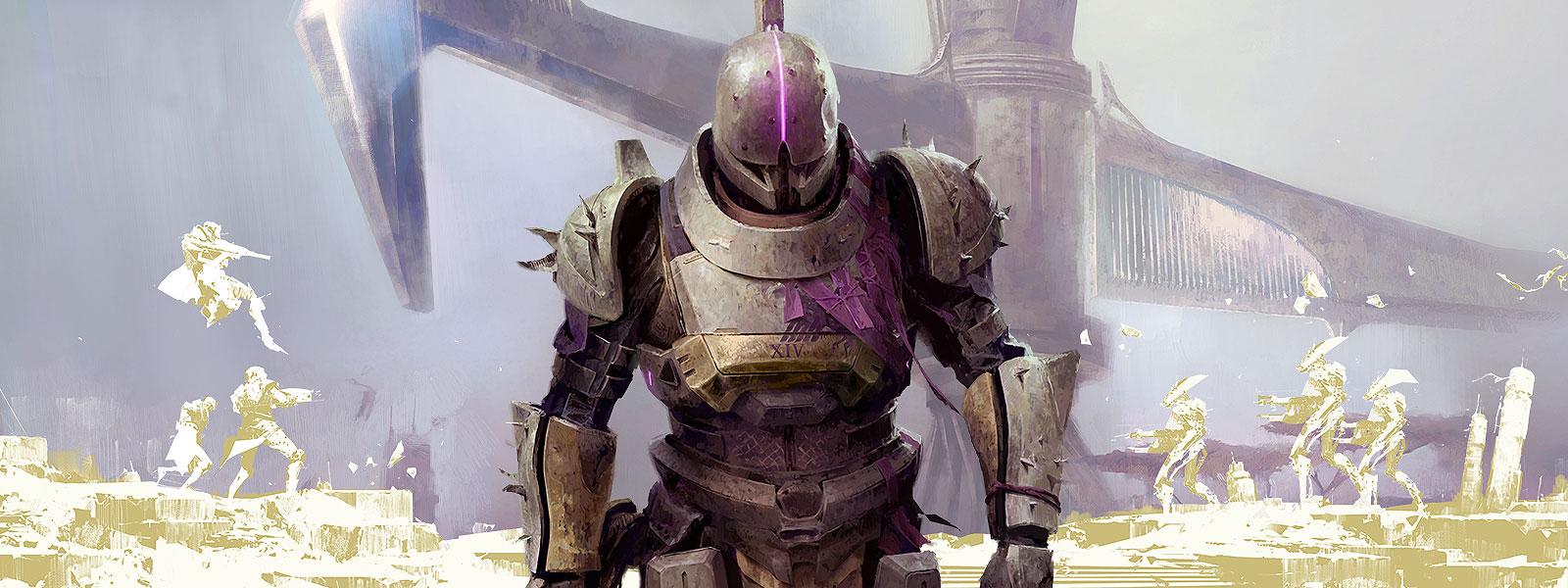 Personnage portant une armure complète, entouré des silhouettes d'autres personnages qui se battent, avec une grande structure à l'arrière-plan.