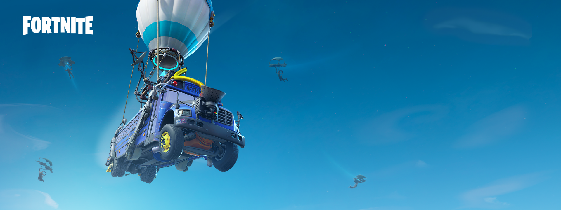 Fortnite Battle Bus flying through the air
