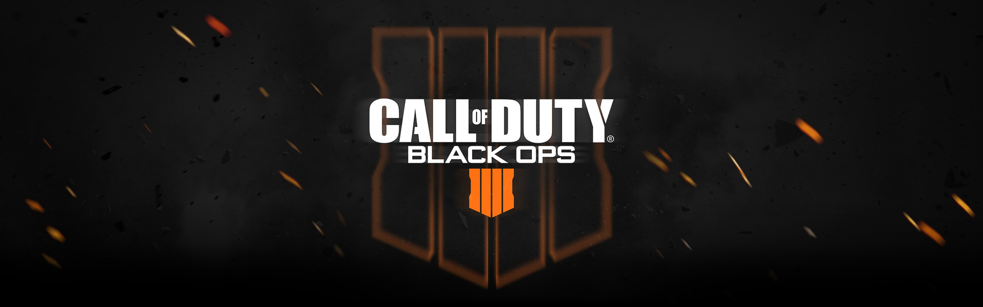 Call of Duty: Black Ops 4 logo surrounded by smoke and embers