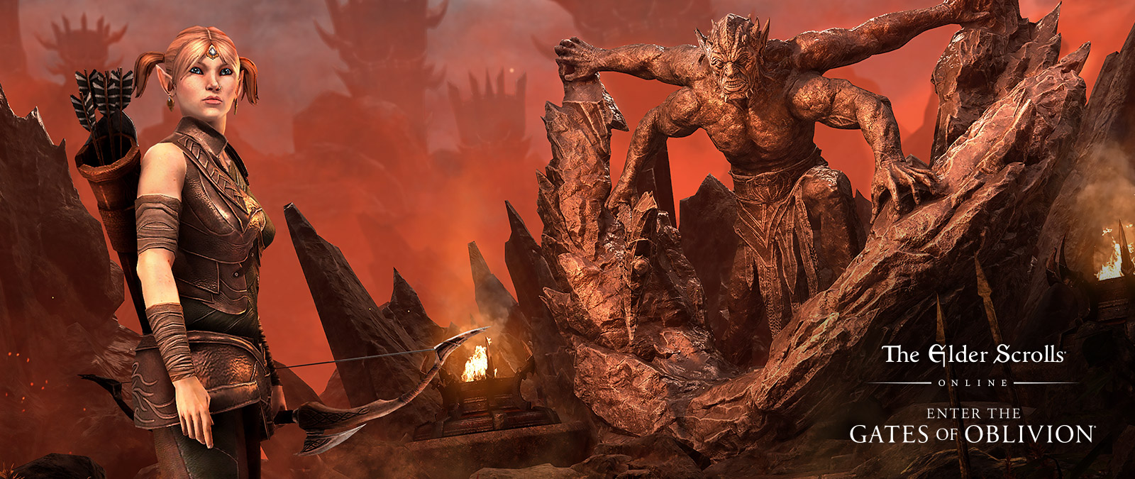 The Elder Scrolls Online: Enter the Gates of Oblivion, Eveli Sharp-Arrow stands in front of a giant four-armed monster climbing over craggy mountain peaks.
