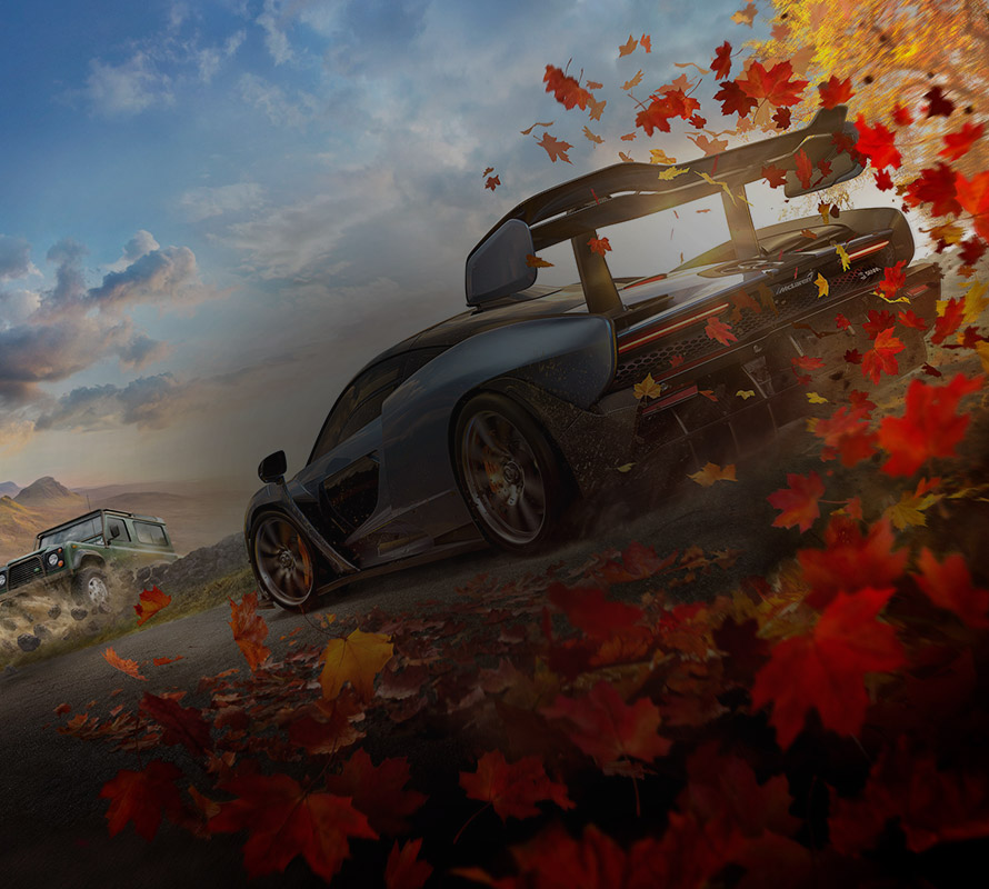 Forza Horizon 4, side and back view of McLaren Senna driving in the British Countryside with autumn leaves swirling