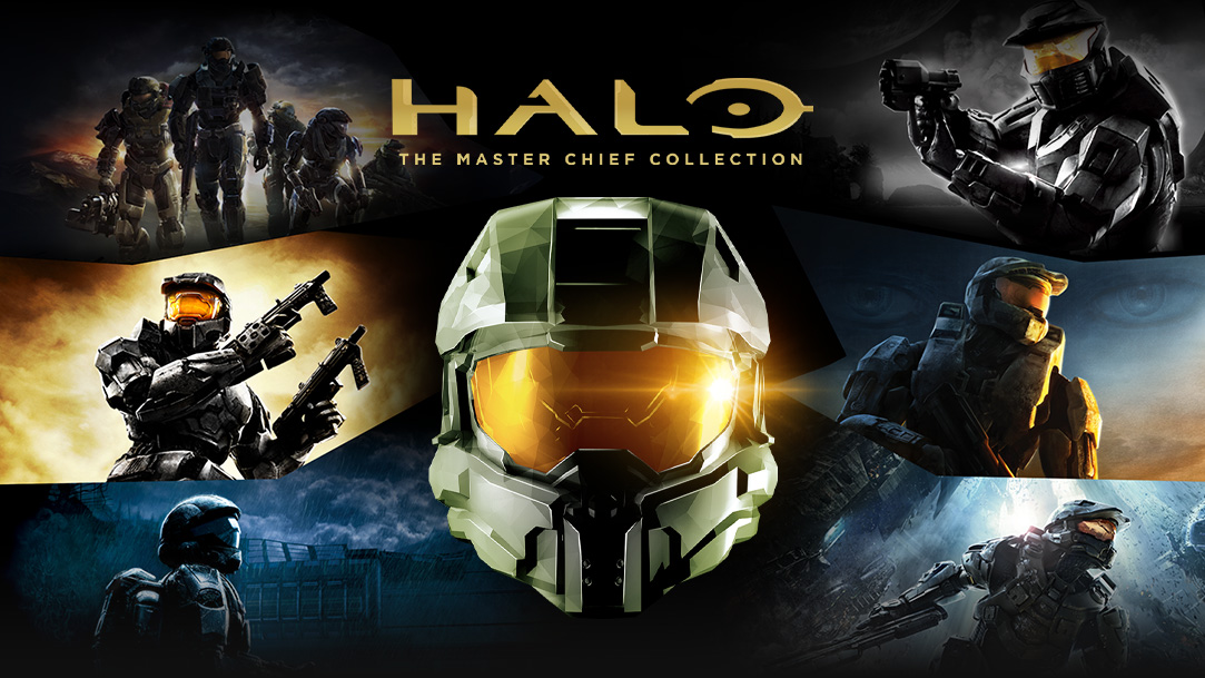 Halo: The Master Chief Collection, vista frontal del casco de Master Chief con imágenes de los juegos de Halo en el fondo