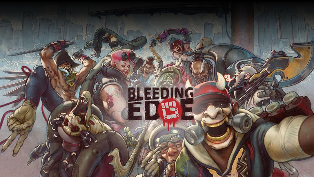 Bleeding Edge karakterleri, bir grup selfie'si çekmek için toplanıyor.