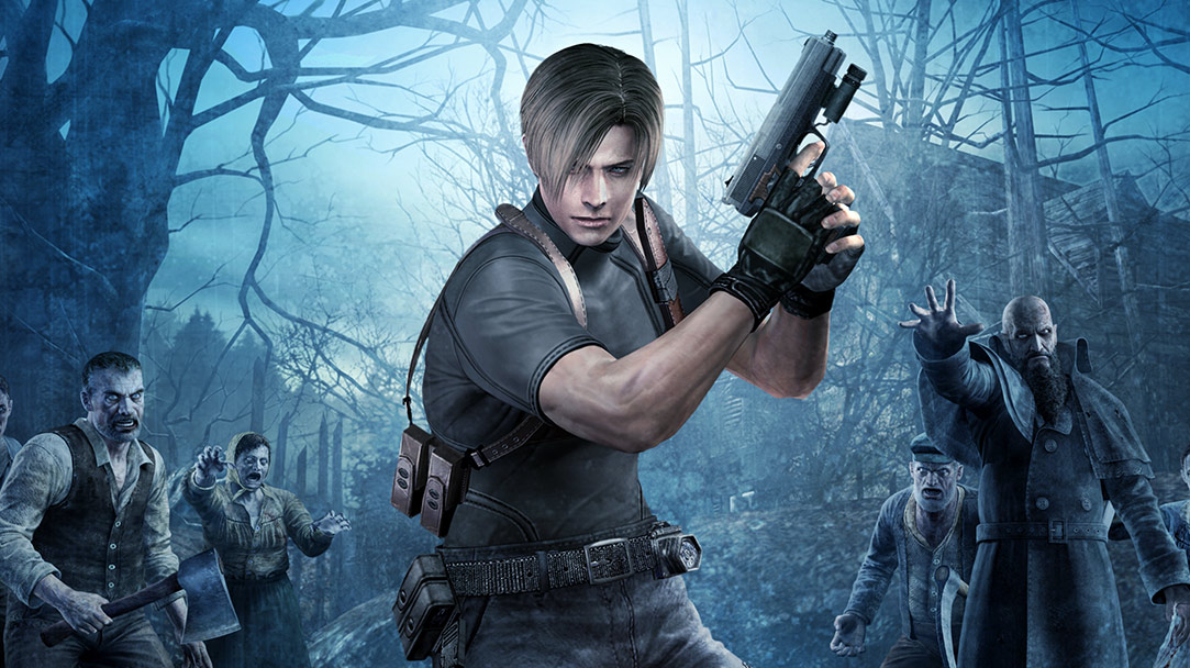 Resident Evil 4, character holding pistol in dark forest surrounded by zombies