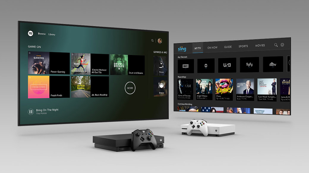 Xbox One X og Xbox One S under et tv, der viser Xbox-apps